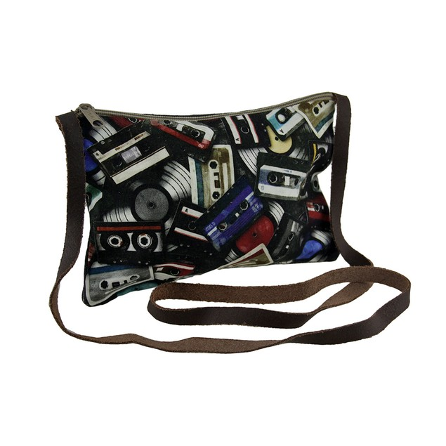 Retro Off The Record Cassette Tape Theme Crossbody Womens Cross Body Bags