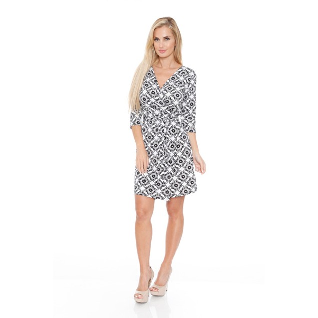 White Mark Women's 'Mariah' Wrap Dress - Batik