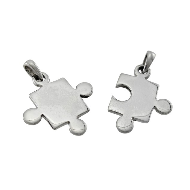 Sterling Silver 2 Piece Jigsaw Puzzle Pieces Pendants