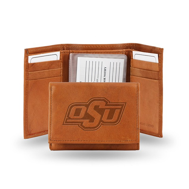 Oklahoma State Leather Manmade Trifold