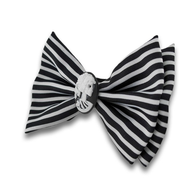 Black And White Striped Bow Tie With Skeleton Mens Bow Ties