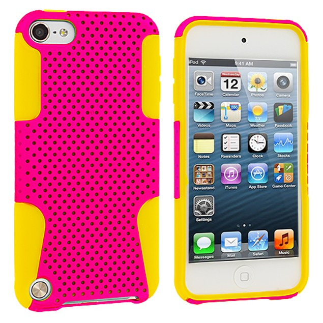 Apple iPod Touch 5th Gen Hybrid Mesh Hard Soft Silicone Case Cover