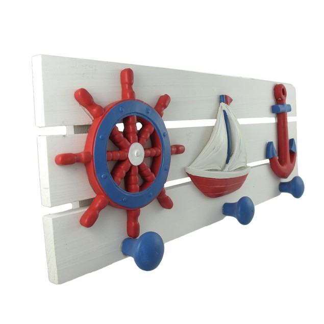 Red, White, And Blue Nautical Wooden Wall Pegs Coat Hooks