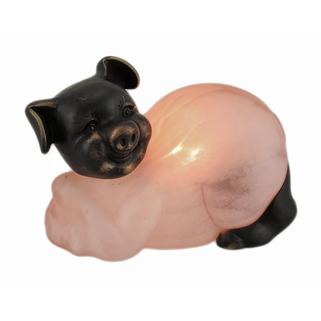 Bronze Finished Mottled Pink Glass Pig Accent Lamp Accent Lamps
