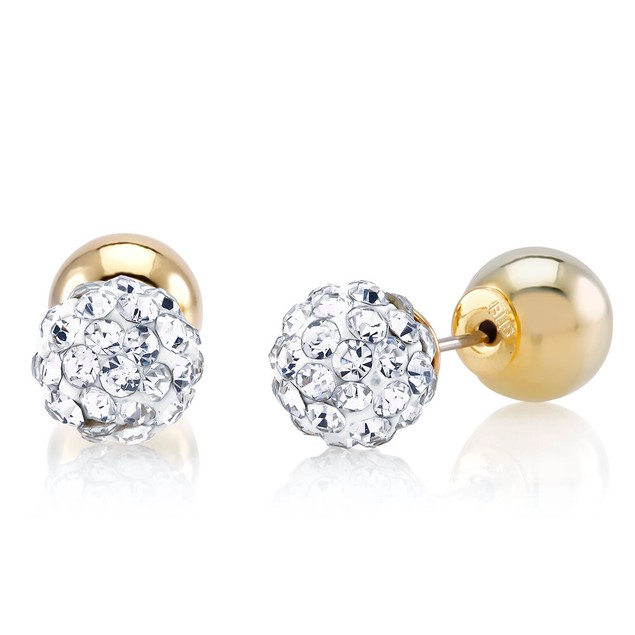 Gold Tone Double Sided Reversible Stud Earrings