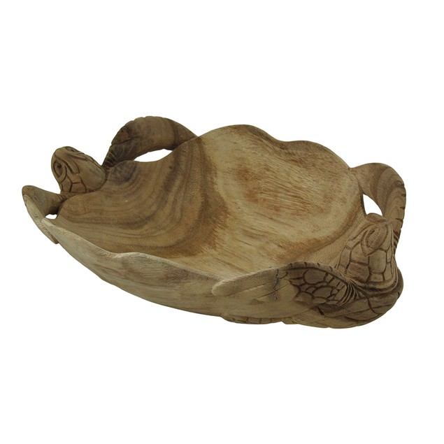 Hand Carved Twin Sea Turtles Decorative Scallop Decorative Bowls