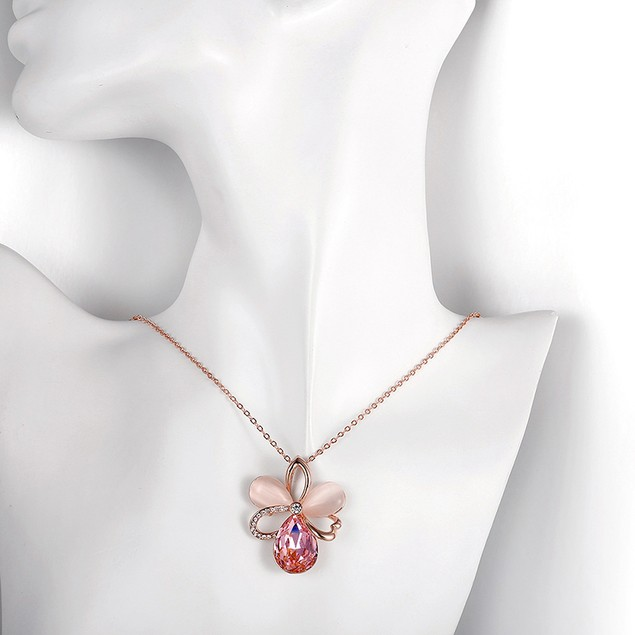 18K Rose Gold Plated Austrian Crystal Mothers Love Necklace