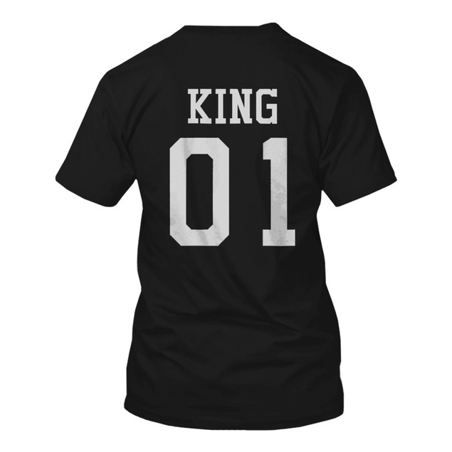 King 01 And Queen 01 Matching Black And White Back Print Couple T-Shirts