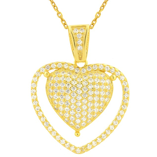 18K Gold Over Sterling Silver Simulated Diamond Pronged Heart Pendant