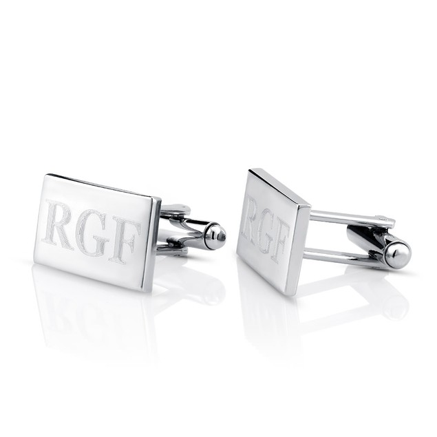 Monogram Sterling Silver Finish Cufflinks - 4 Styles