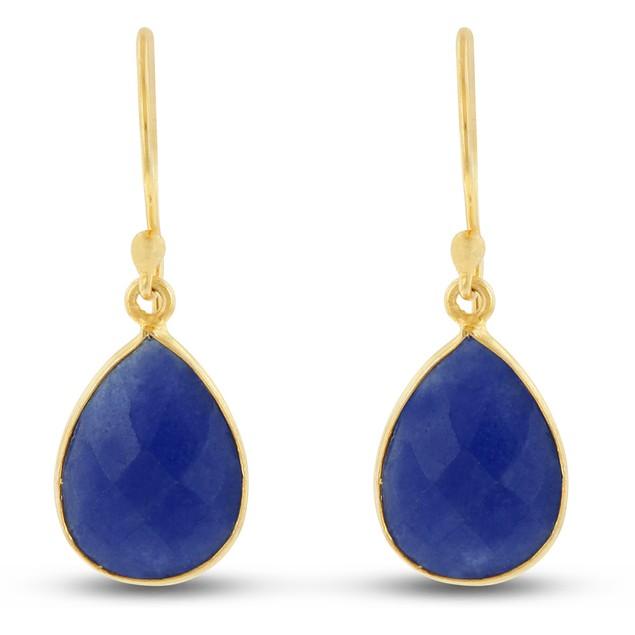 Gold Tone 12ct Blue Sapphire Pear Shape Earrings