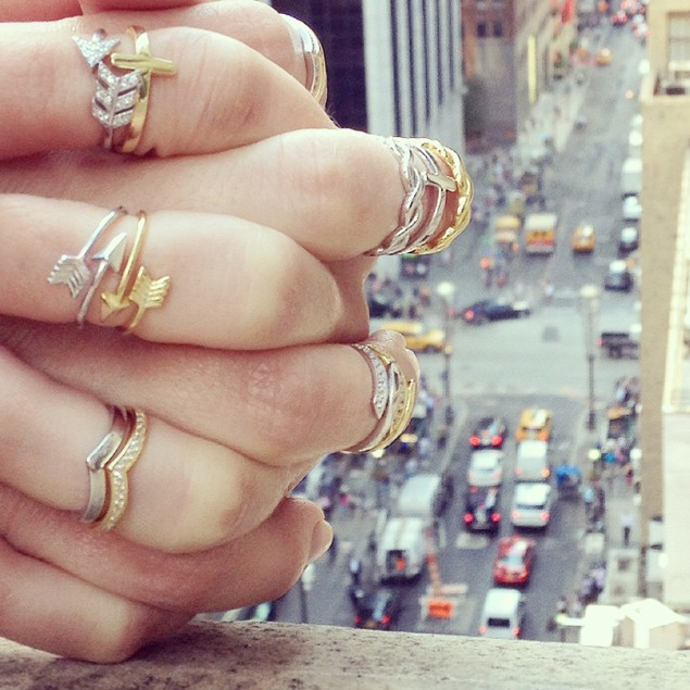 Gold over Sterling Silver Arrow Midi Ring
