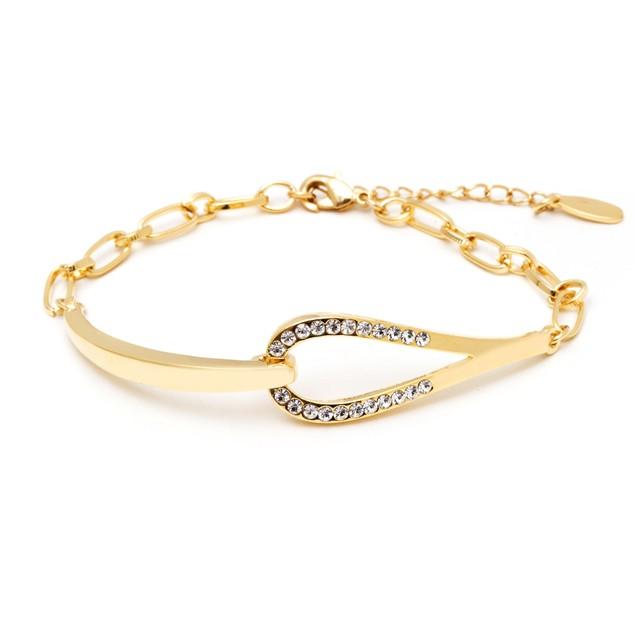 18K Gold and Crystal Horseshoe Bracelet