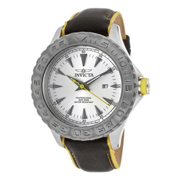 InvictaMen's Pro Diver/Ocean Ghost Silver Dial Black Genuine Calf Leather/Yellow Nylon Trim