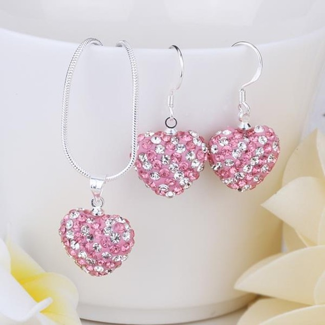 Multi-Pave Heart Drop Earring and Necklace Set - Bubble Gum Pink