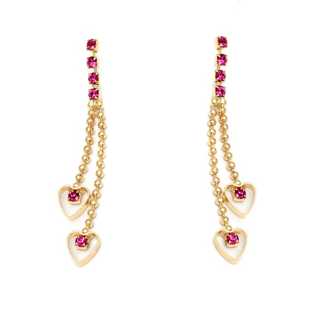 Gold and Swarovski Elements Double Heart Drop Earrings