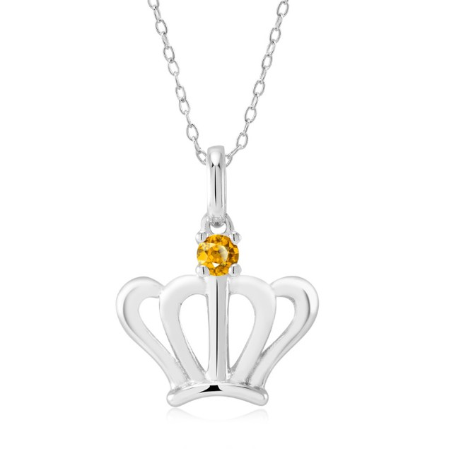 Sterling Silver Crown Necklace with Crystal Birthstone