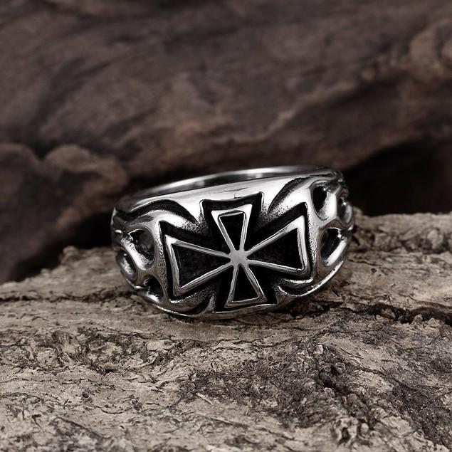 Medium Cross Emblem Stainless Steel Ring