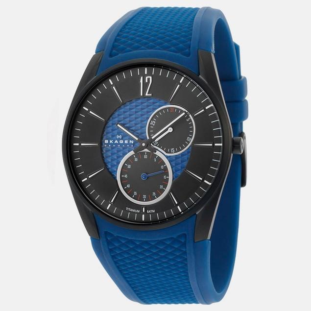 Men's Skagen Silicon Textured Blue Dial