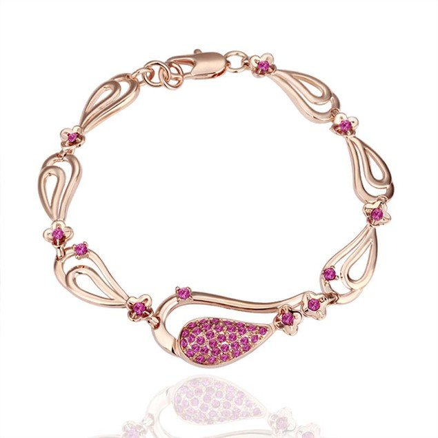 Gold Plated Hearts Bracelet with Austrian Crystal