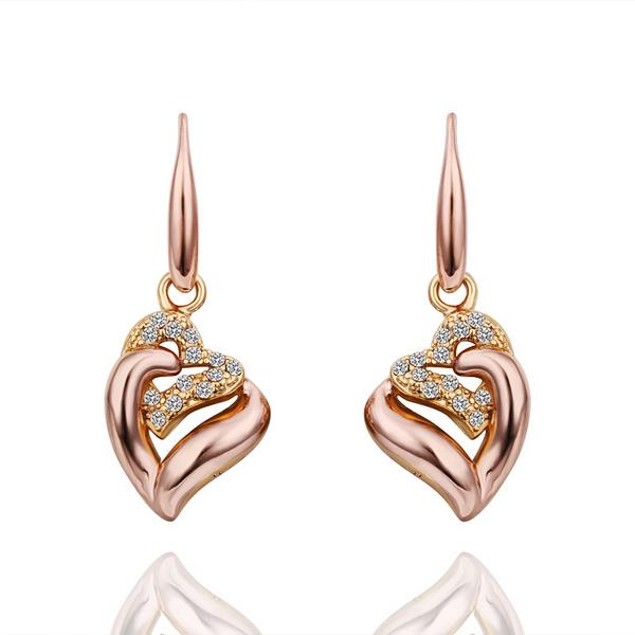 Drop Down Rose Gold Plated Classic Earrings Made with Austrian Crystal