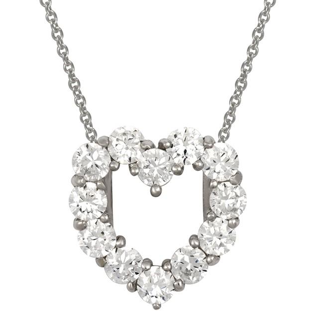 Sterling Silver Simulated Diamond Heart Pendant