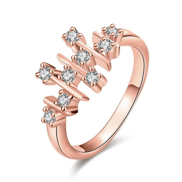 Rose Gold Plated Horizontal Lined Ring