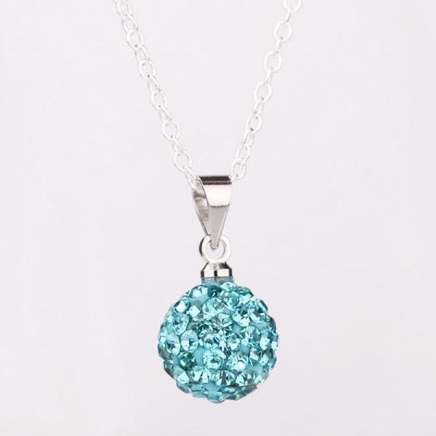 Solid Austrian Stone Pendant - Baby Blue