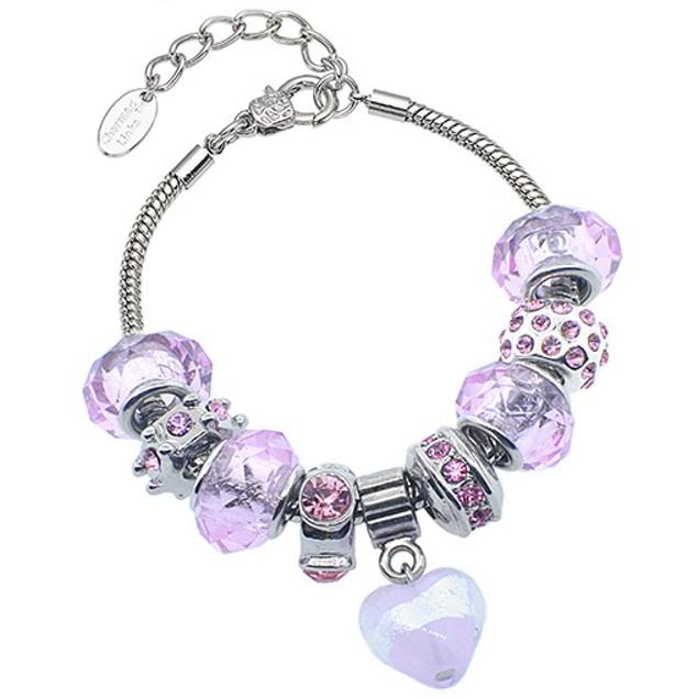 Glass Marble Heart Murano-Style Crystal Bracelet