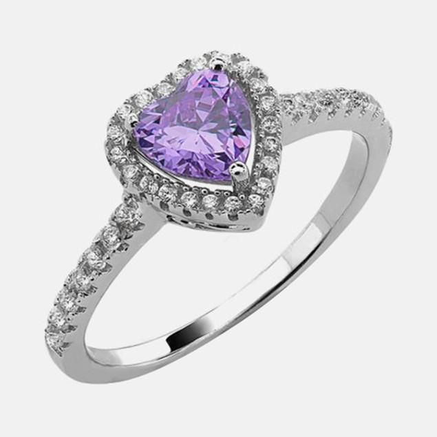 .925 Sterling Silver Birthstone Ring - February