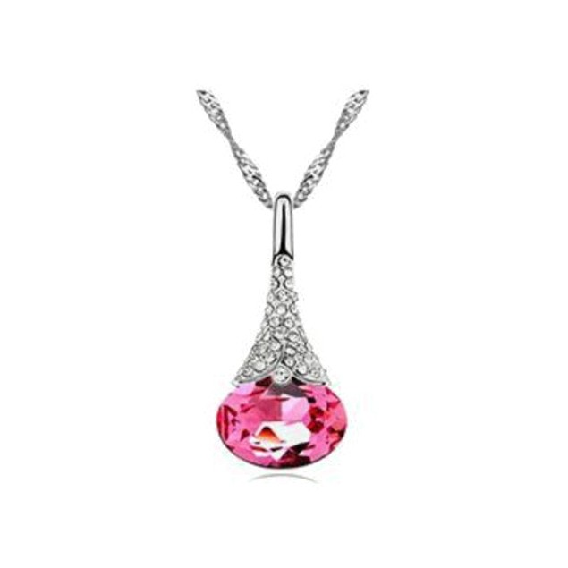 Austrian Crystal Water Drop Pendant Chain Necklace - 5 Colors