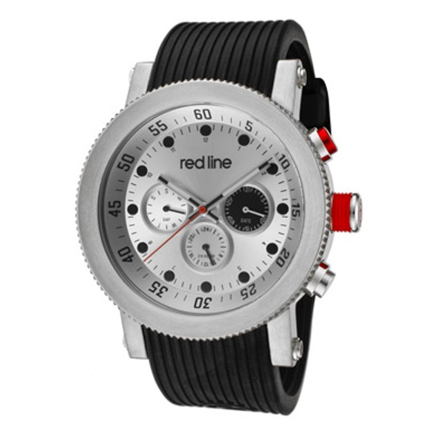 Red Line Men's Compressor Silver Dial Black Silicone