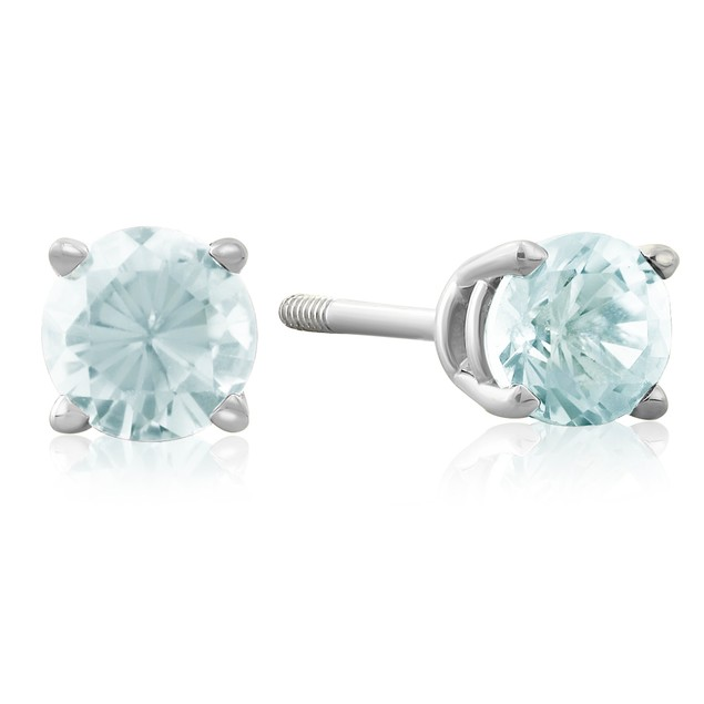 1/2 Carat Aquamarine Stud Earrings in 14k White Gold
