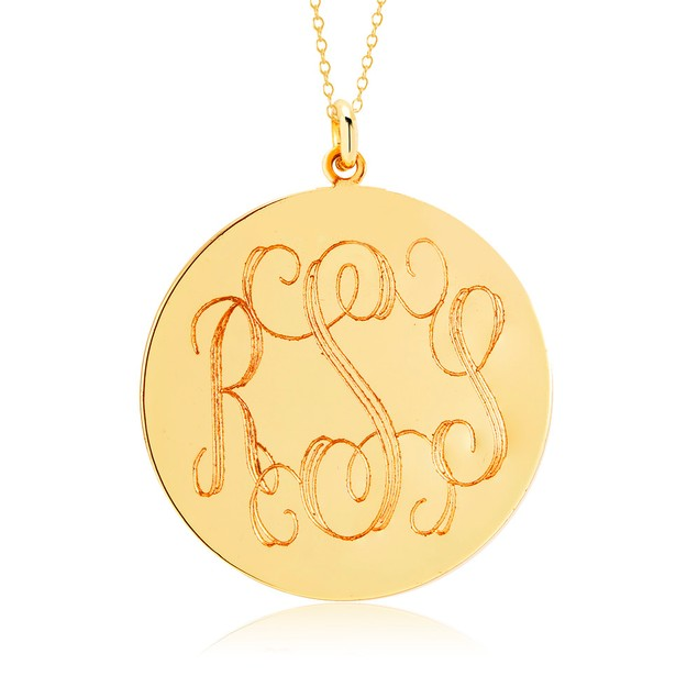 Personalized Monogram Disc Necklace - 3 Colors