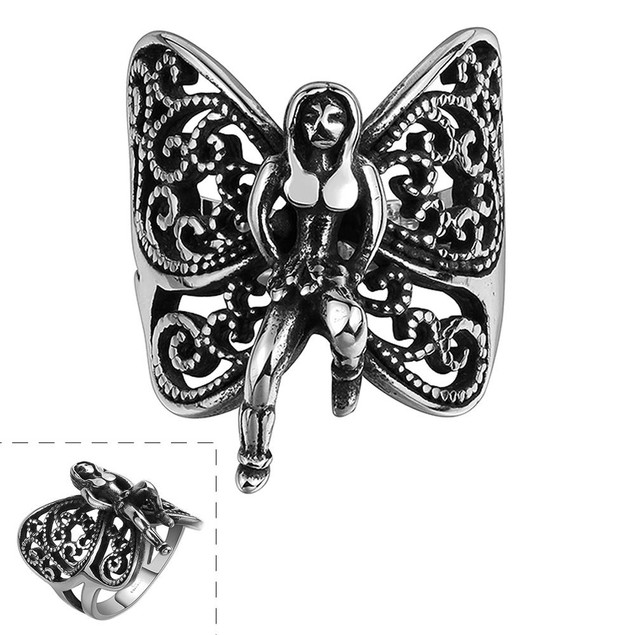 Flying Butterfly Stainless Steel Ring