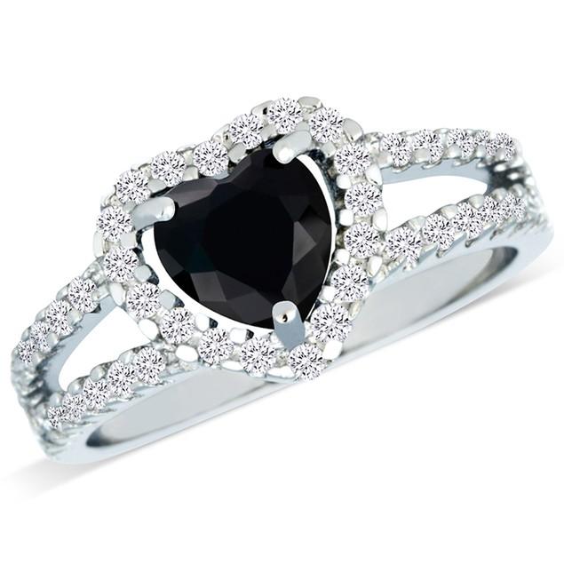 Sterling Silver Imitation Black Diamond Heart Shaped Ring