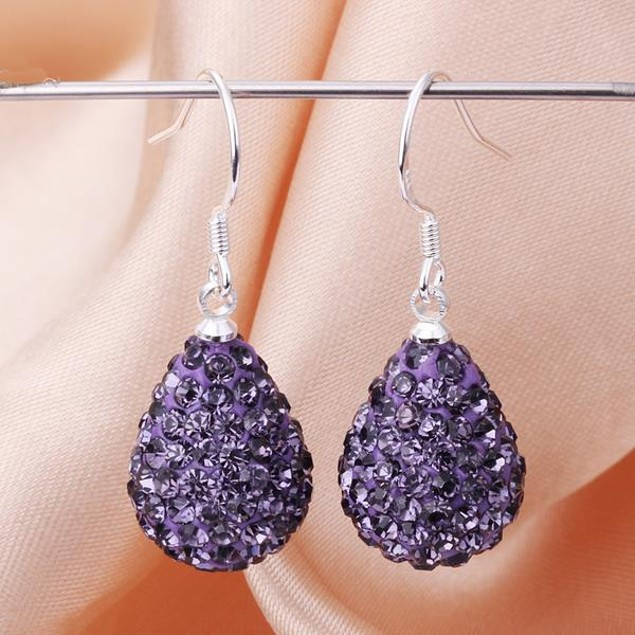 Pear Shaped Solid Austrian Stone Drop Earrings - Dark Lavender