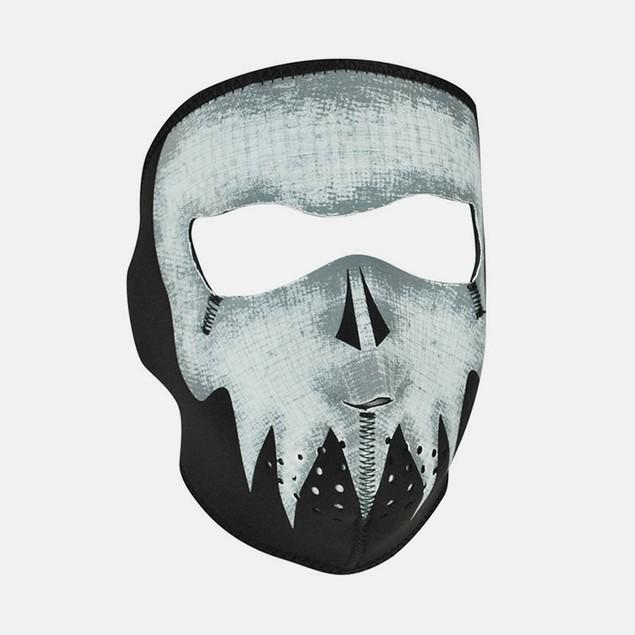 Glow in the Dark Grey Skull Neoprene Full Face Mask