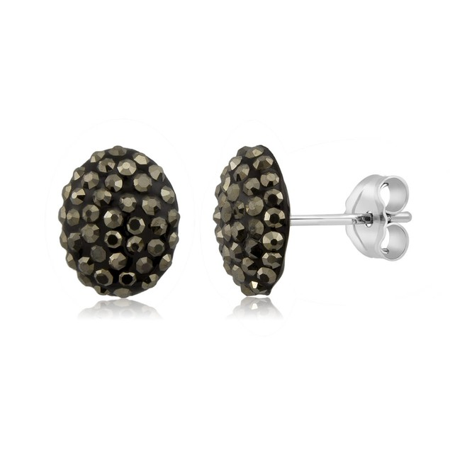 Sterling Silver Sparkling Crystal 10mm Stud Earrings - Oval Grey