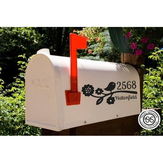 Flowers and Birdie Mailbox Decal