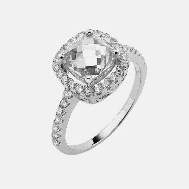 Sterling Silver Square Birthstone Ring - April