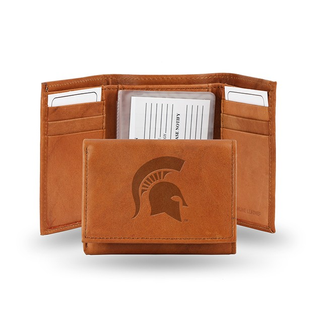 Michigan State Leather Manmade Trifold