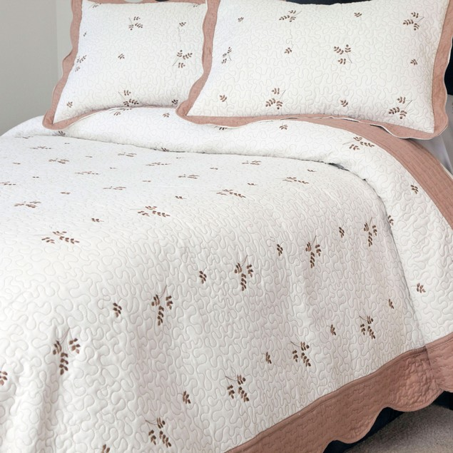 Lavish Home Peyton Embroidered Quilt 3 Pc. Set