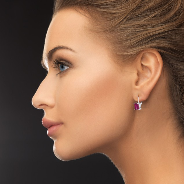 4 1/2 Carat Emerald Shape Created Ruby Leverback Earrings In Sterling Silver