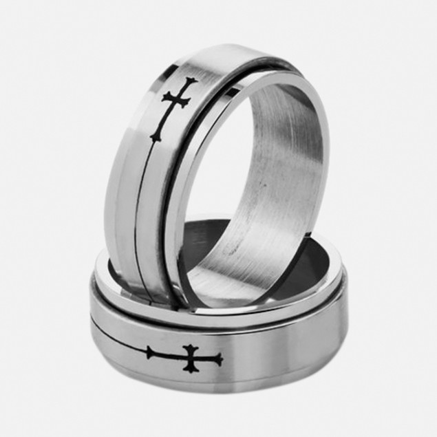Stainless Steel Ring - Strung Cross