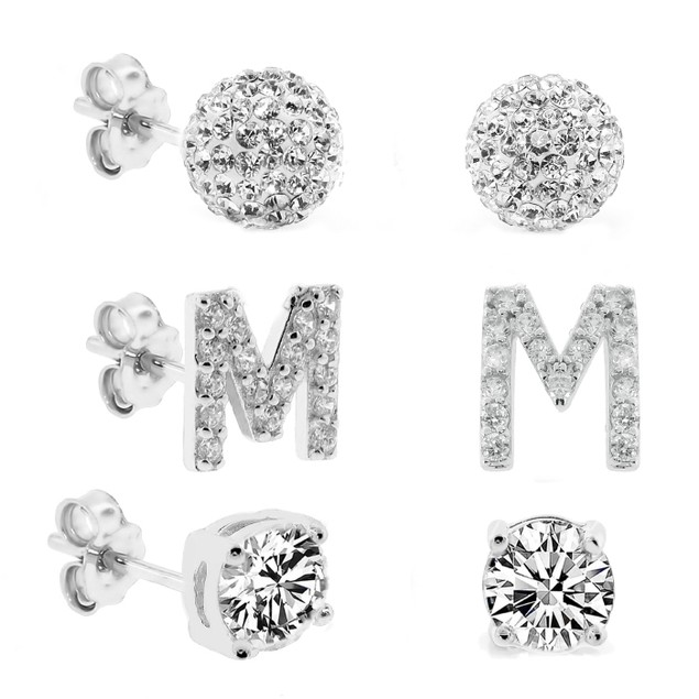 3-Piece Set: Initial Stud Earrings with Swarovski Elements - M