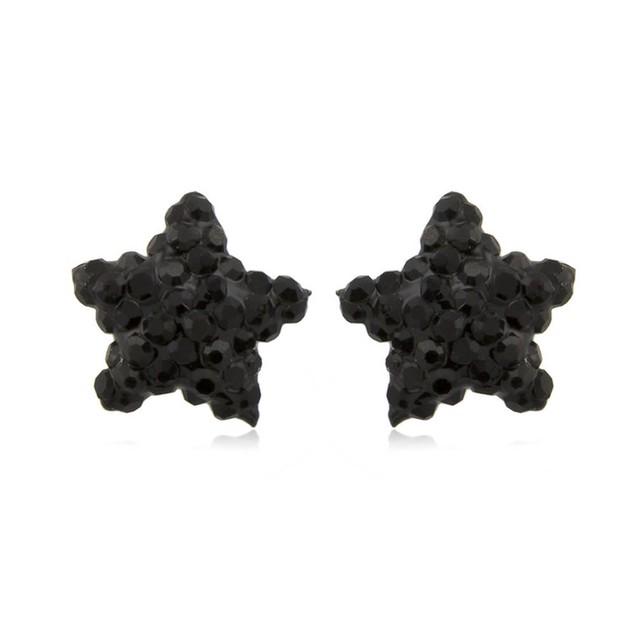 Sterling Silver Sparkling Crystal 10mm Stud Earrings - Star Jet Black