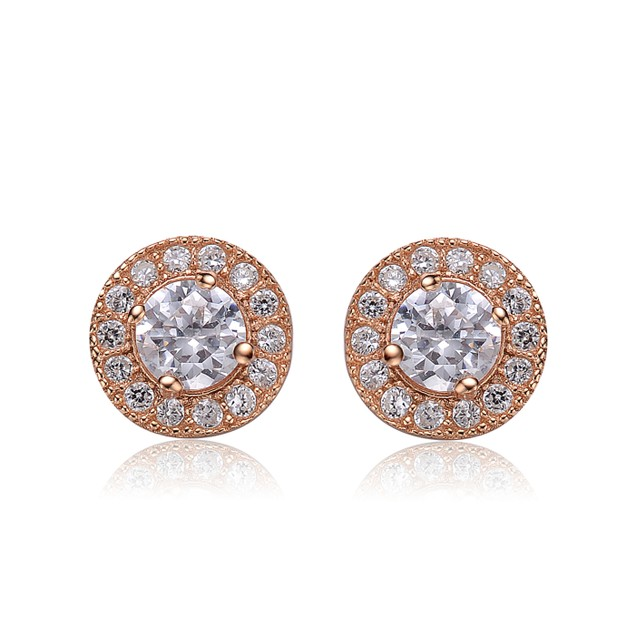 C.Z. Sterling Silver Rose Plated Round Stud Style Earrings