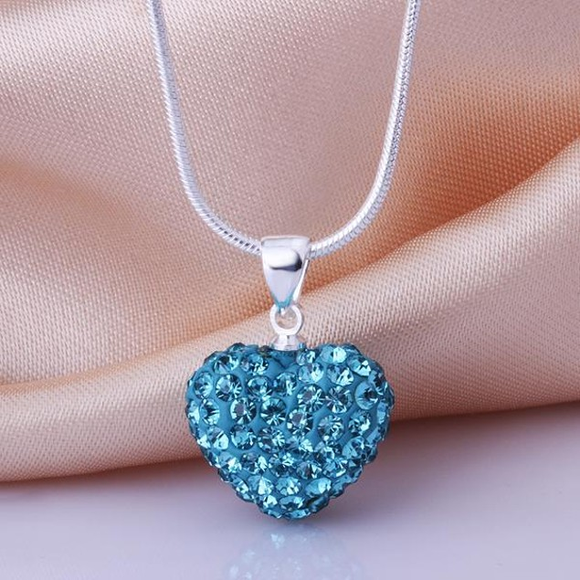 Solid Austrian Stone Crystal Heart Shaped Necklace - Light Blue
