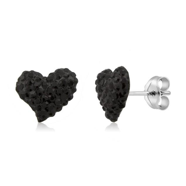 Sterling Silver Sparkling Crystal 10mm Stud Earrings - Heart Jet Black